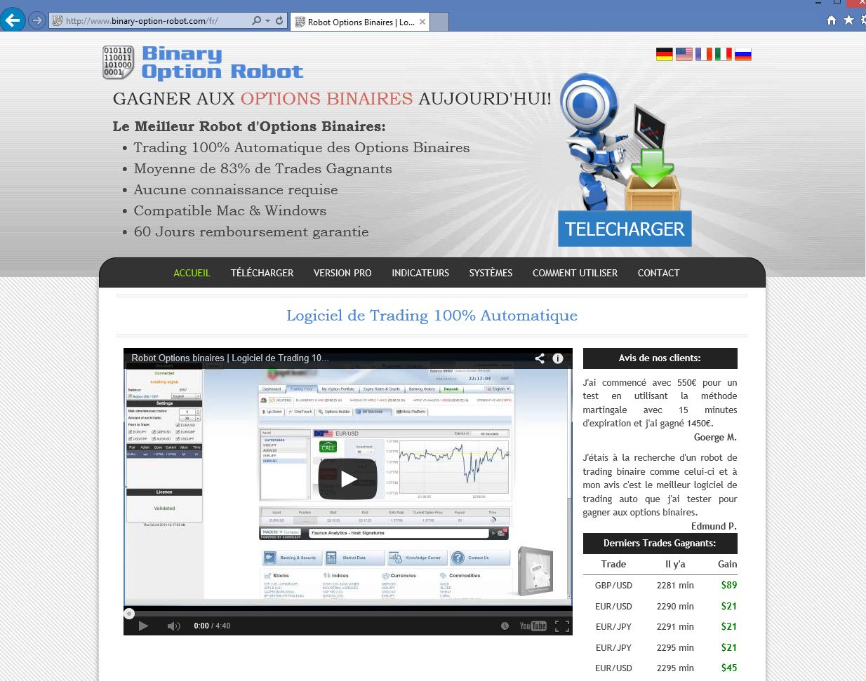 The binary option robot
